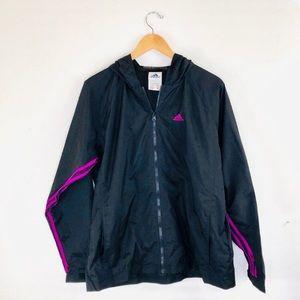 Adidas Black with Purple Stripes Zip Up Jacket L